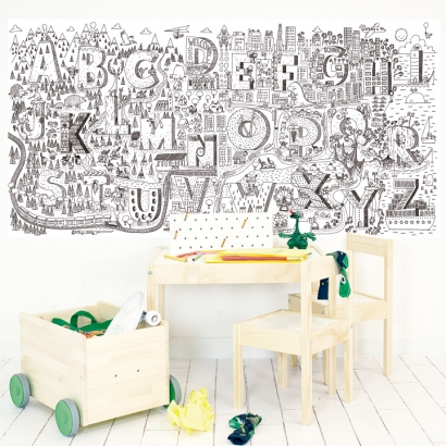 Wallpaper coloreable Adventure Letters