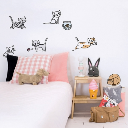 Cats Wallsticker by Eva Mouton