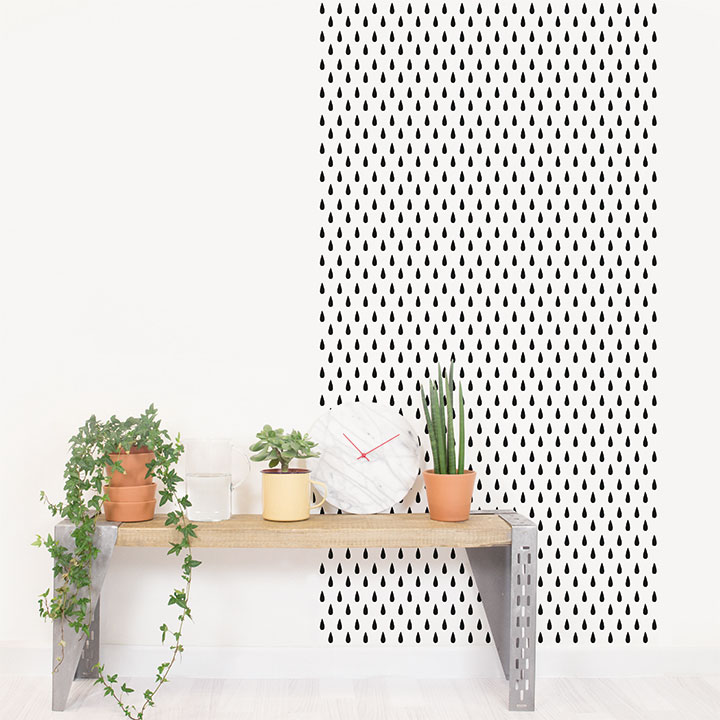 Papel de pared reposicionable Drops