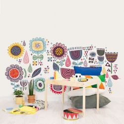 Repositionable Wallpaper Garden with rain